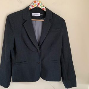 Calvin Klein Charcoal Grey Stretch Blazer Jacket